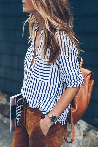 shirt tumblr striped shirt leather backpack brown backpack backpack pants suede suede pants brown gold watch watch office outfits work outfits