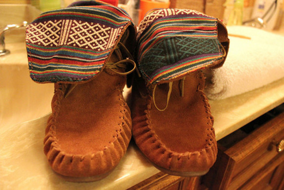 mocassins brown shoes shoes boots tribal print