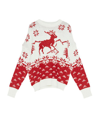 sweater pull and bear christmas christmas sweater sweater weather red white knitted sweater cozy lazy day cozy sweater