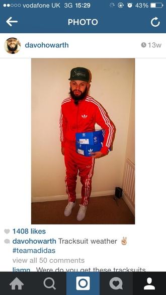 red adidas joggers menswear