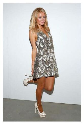 dress lace dress fashion week paris hilton