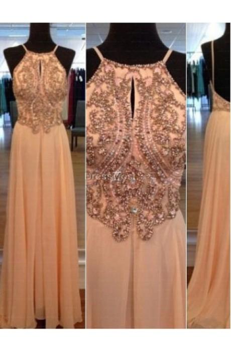 2015 blush chiffon beading sleeveless prom dress