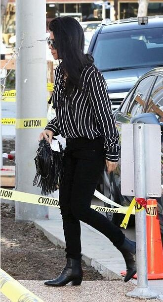 blouse stripes striped shirt kourtney kardashian fall outfits pants boots