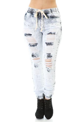 jeans joggers acid wash cute