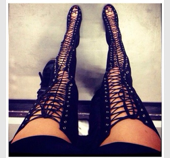 high heels open toes lace up