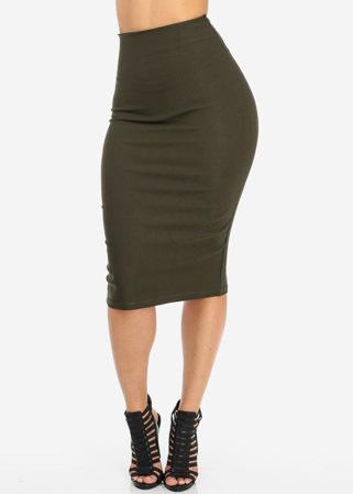 Olive high waist pencil skirt