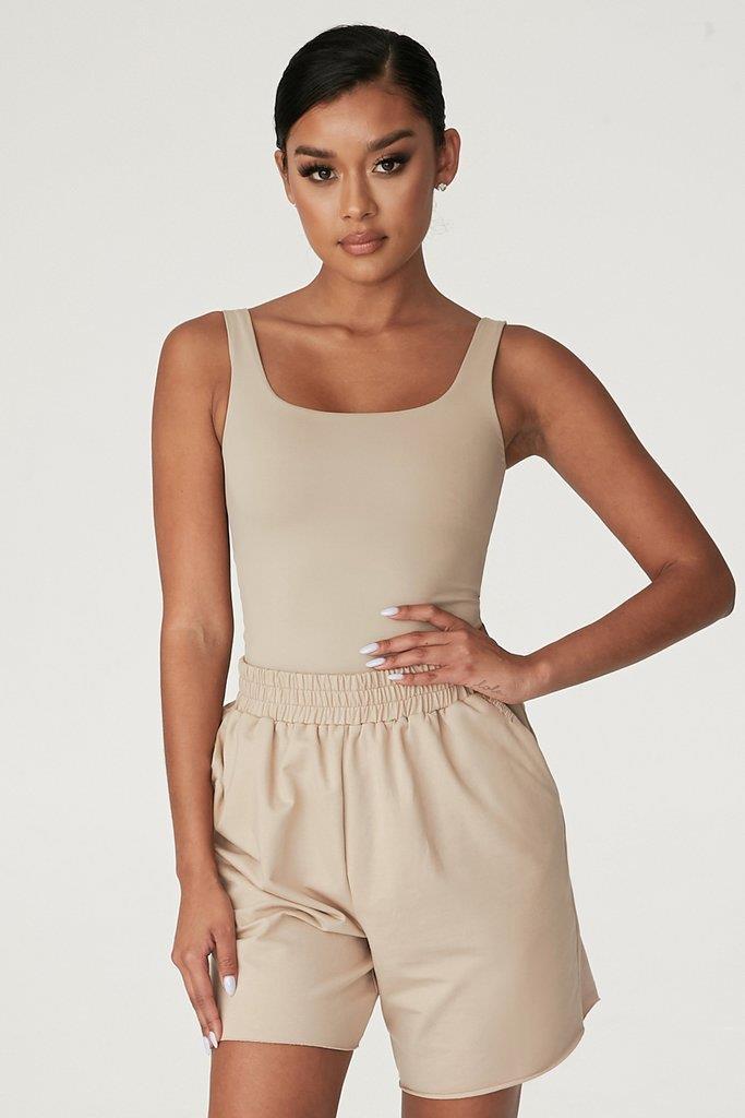 Jaelyn Thin Strap Square Neck Bodysuit - Almond
