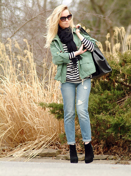 leather bag sunglasses jeans jacket baby blue green coat striped top black black scarf tote bag black sunglasses sexy look blogger style blogger fashion blogger long hair
