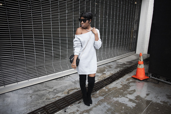 locks and trinkets blogger sweater dress thigh high boots sweater dress shoes