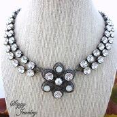jewels,siggy jewelry,swarovski,necklace,choker necklace,crystal choker,pearl,amazing,sparkle,glamour,style,bling,fashion,fashionista,bridal,wedding,statement necklace,etsy,etsy shop,shop local,ooak,pendant,victorian,elegant