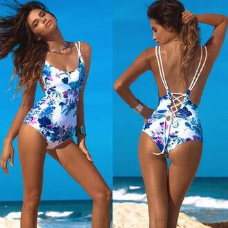 swimwear mynystyle bikini floral strappy backless sexy