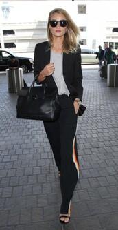 pants,top,sunglasses,model off-duty,suit,blazer,rosie huntington-whiteley,sandals,purse,jacket