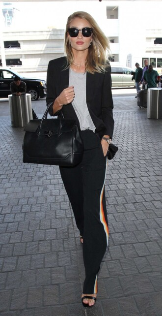 pants top sunglasses model off-duty suit blazer rosie huntington-whiteley sandals purse jacket