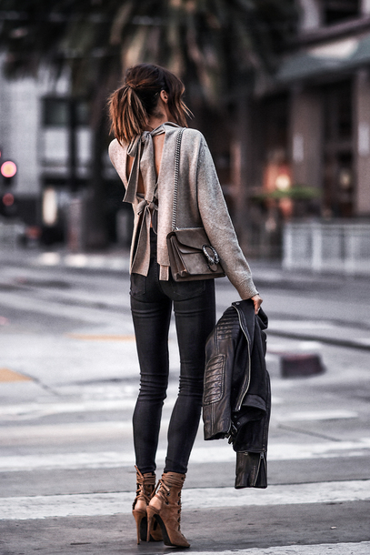 fashionedchic blogger sweater jeans shoes bag fall outfits black leather jacket shoulder bag grey sweater pumps