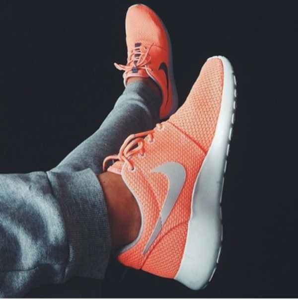 brand new 9148d d6ca0 shoes nike nike running shoes nike peach peach nike roshe orange pretty  workout roshrun coral pink