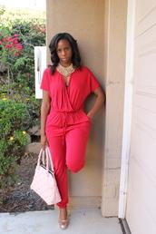 pants,red jumpsuit