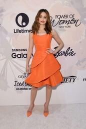 dress,orange,orange dress,emmy rossum,pumps