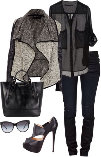 shirt shoes bag jeans blouse t-shirt coat jacket black chic leather grey fall outfits winter outfits summer dress pants leggings skirt top crop tops heels glasses sunglasses chiffon black jacket fashion cardigan transparent casual