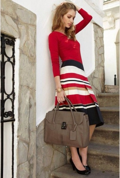 Skirt: red black white striped skirt - Wheretoget