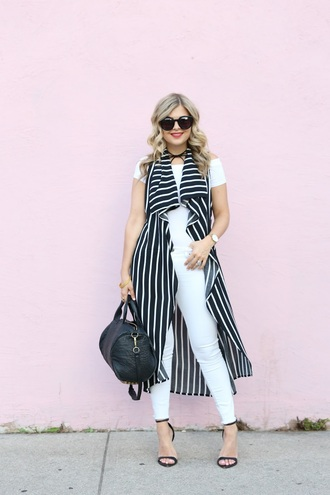 suburban faux-pas blogger sunglasses bag shoes jewels white pants white jeans sleeveless black bag white top off the shoulder
