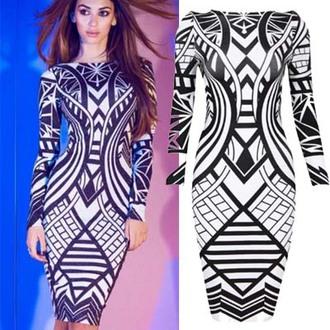 dress print dress long sleeve dresses geometric dress