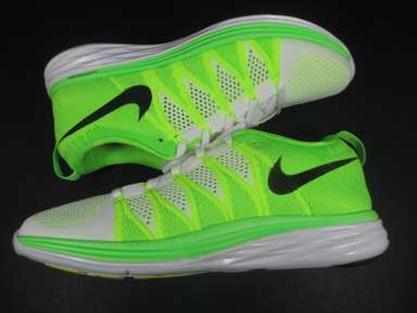 Nike Flyknit Lunar 2 Women's Size 9 Running Shoes White Green Black 620658 107 1 | eBay