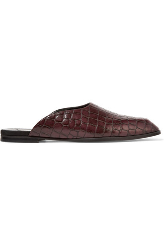 slippers leather burgundy shoes