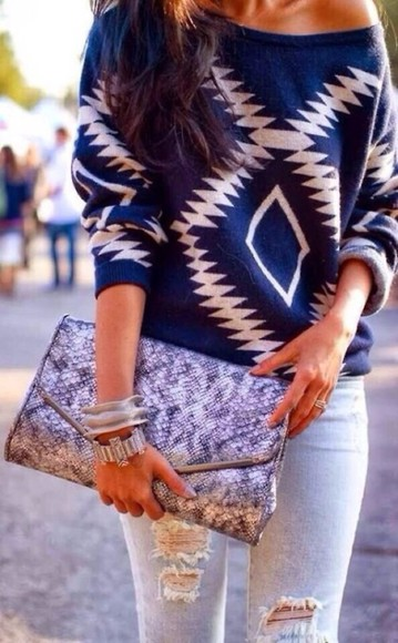 sweater off the shoulder sweater white blue ripped jeans rolled up sleeves aztec diamonds