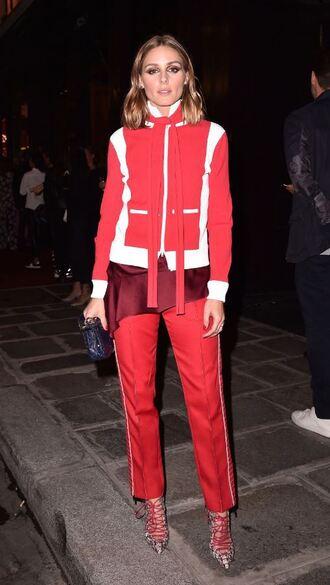 shoes pants jacket red olivia palermo blogger paris fashion week 2017