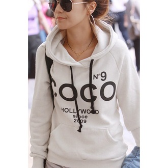 sweater white long sleeves chanel hoodie fashion style ilifestore