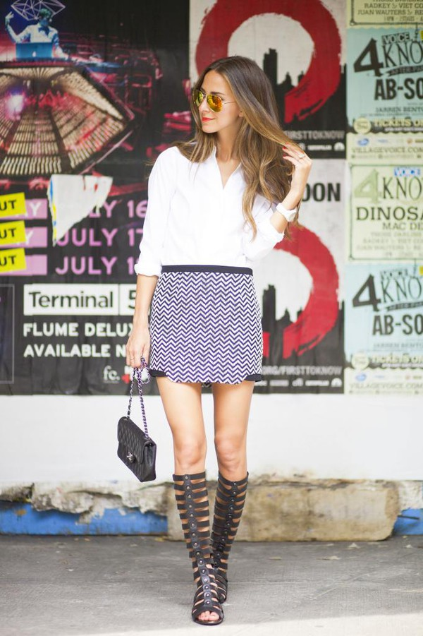 something navy shoes skirt bag jewels sunglasses make-up
