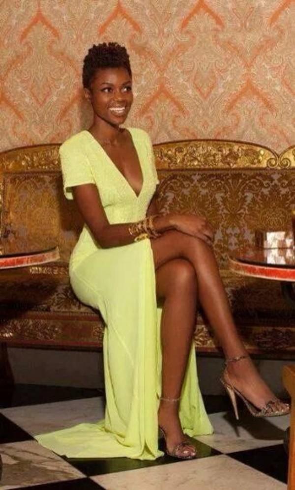 Dress Neon Neon Yellow Yellow Dress Thigh Slit Maxi