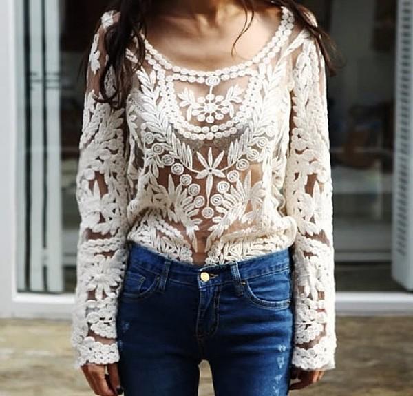 blouse lace transparent shirt white