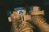 shoes,high top sneakers,beige,nike air force 1,nike,brown