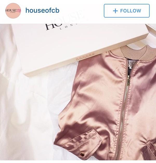 Clothing : Jackets : 'Dena' Rose Gold Satin Bomber Jacket