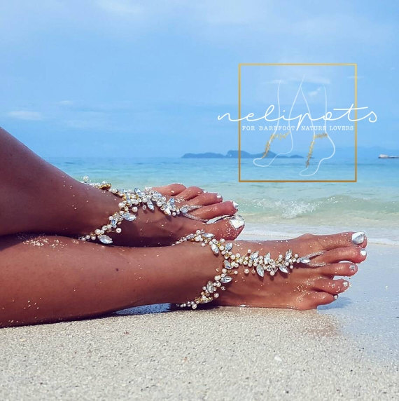Beach Wedding Barefoot SandalsBridal Pearl Beaded JewelryBoho
