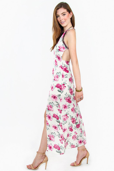 floral print dress maxi dress summer dress rose print dress front slit sexy dress sexy maxi dress