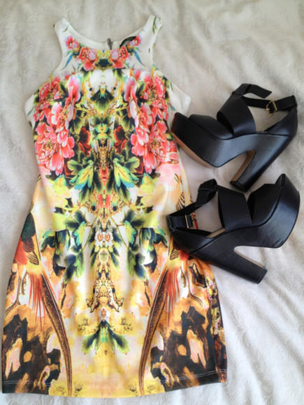 dress print floral red pink green gold