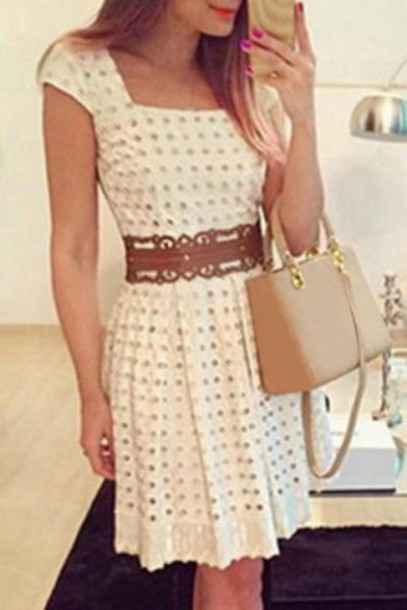 dress, girly, cute, fashion, style, trendy, chic women\u0027s short sleeve  square neck a,line dress, summer, feminine, white, clothes, pretty ,  Wheretoget