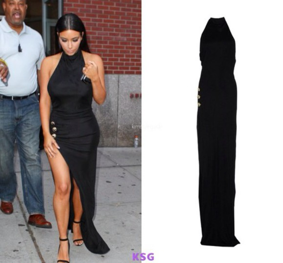 zip high neck kim kardashian keeping up with the kardashians floor length little black dress