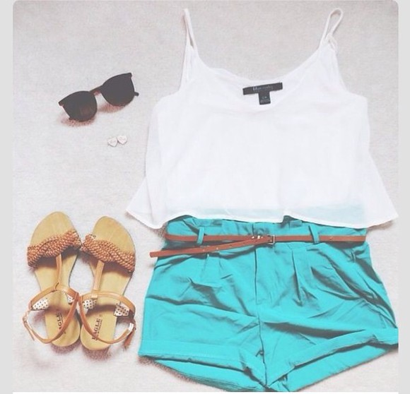 woven sandal blouse white crop tops High waisted shorts aqua light blue Belt flat sandals sunglasses