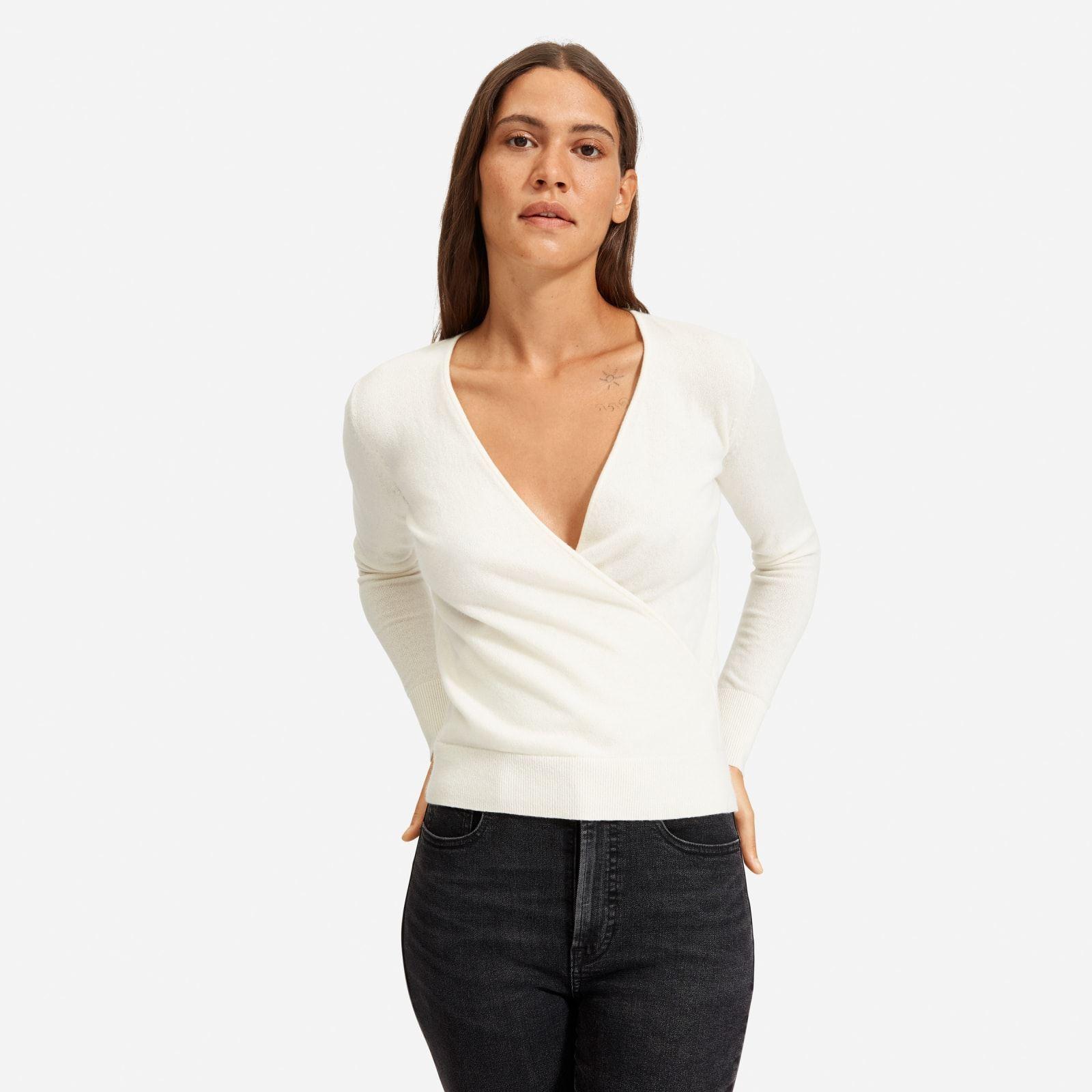 Women's Cashmere Wrap Sweater in Bone