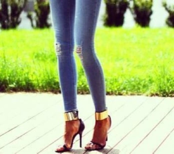 Shoes: gold ankle strap, sandals, high heels - Wheretoget