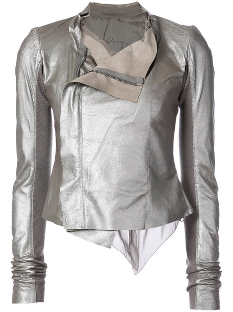 Rick Owens jacket biker jacket women draped silk grey metallic
