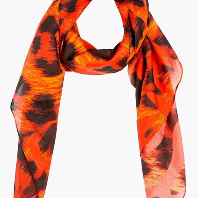 red scarf menswear leopard print camouflage scarf red