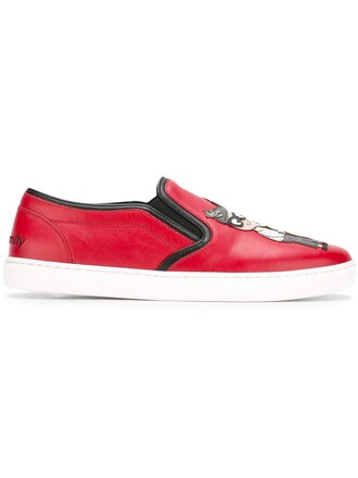 women sneakers leather red shoes