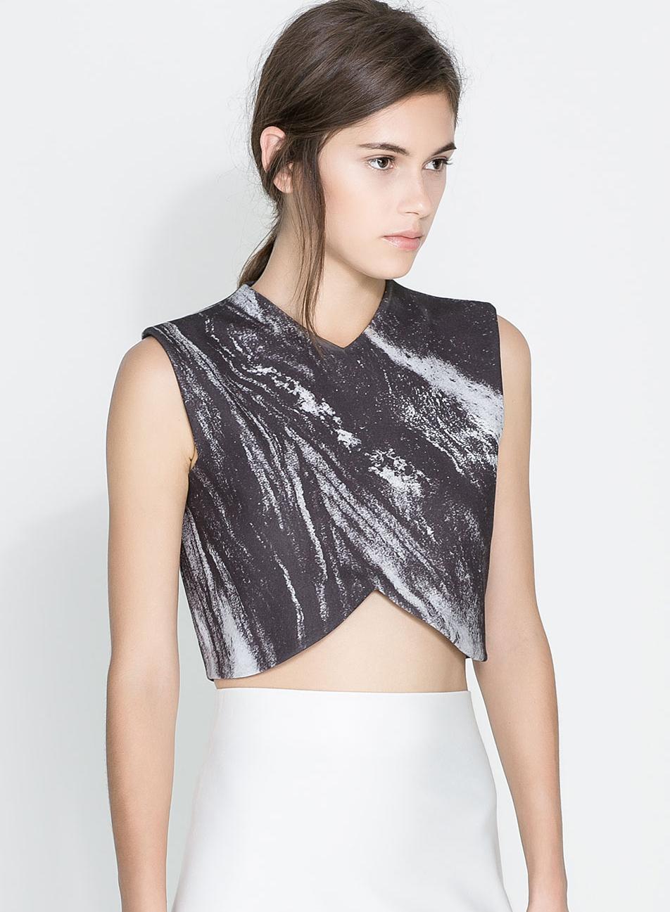 Grey V Neck Sleeveless Crop Vest - Sheinside.com
