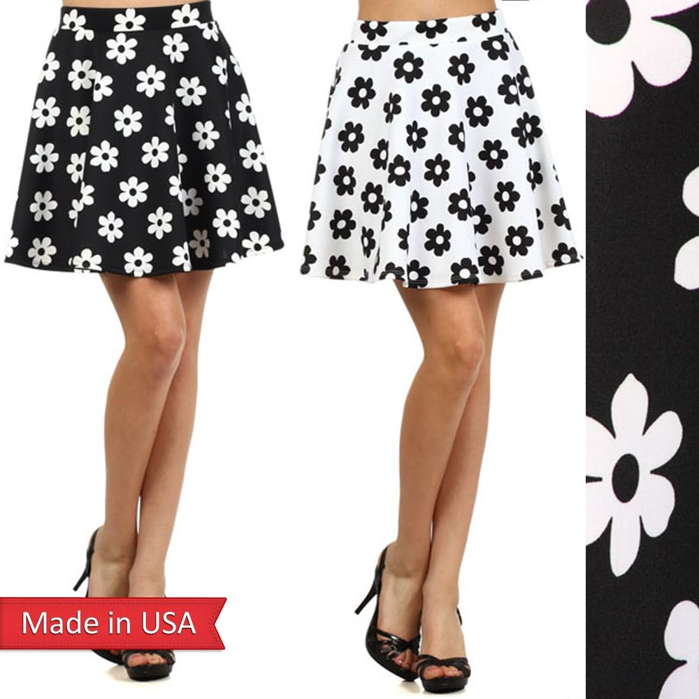 New flower floral print black white chic girl skater mini flair a line skirt usa