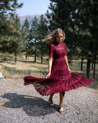 memorandum blogger dress shoes jewels lace dress midi dress burgundy dress fall outfits sandals