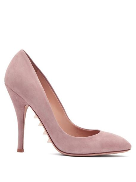 suede pumps studs light pink light pumps suede pink shoes